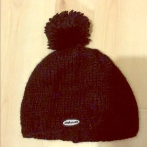 Dakine black knit beanie with single Pom Pom